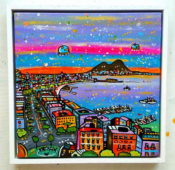 Futuristic View of Napoli, original acrylics with gallery frame